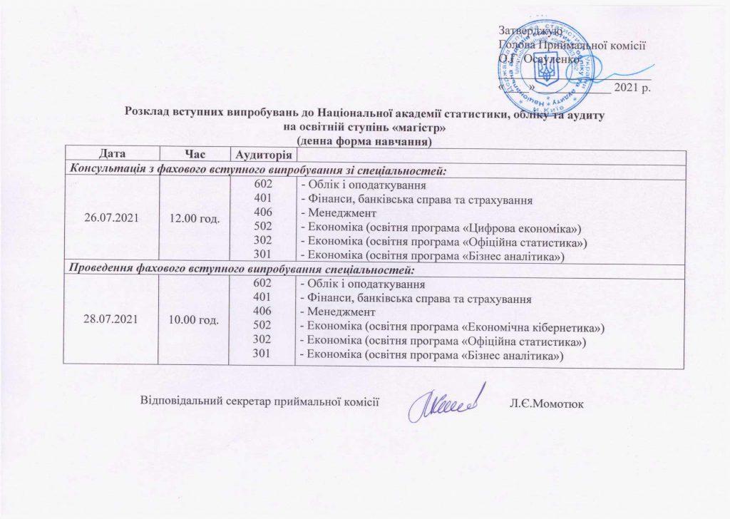 Розклад вступних випробувань на освітній ступінь «магістр» (денна форма навчання).