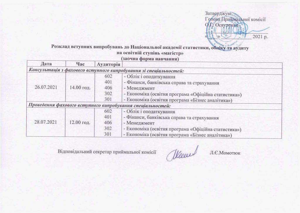 Розклад вступних випробувань на освітній ступінь «магістр» (заочна форма навчання).